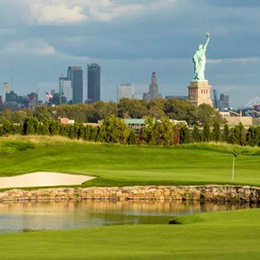 Golf Threesome at Liberty National Golf Club
